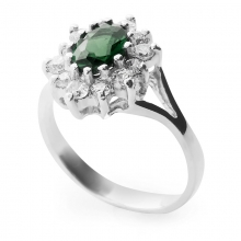 VERDI Sterling Silver Ring with Tourmaline and Cubic Zirconia stones