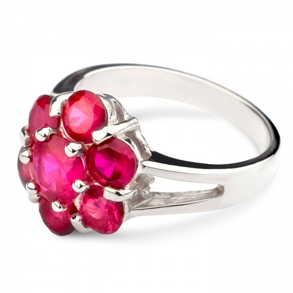 silver cluster ring with pink rubies harry fay