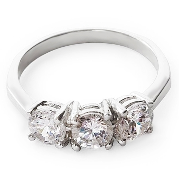 pretty sterling silver ring with white cubic zirconia