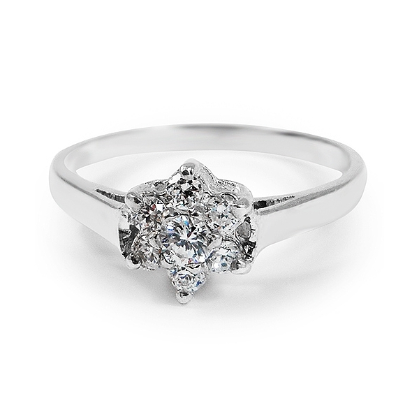 silver cluster ring with cubic zirconia diamonds