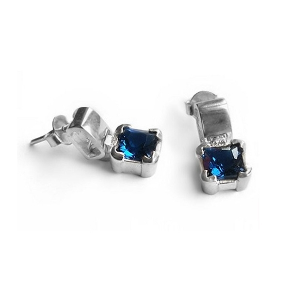 silver stud earrings with square cut blue sapphire harry