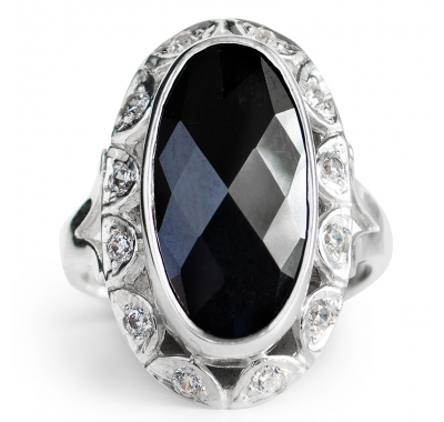 BLACK DOLLY Silver Cocktail Ring
