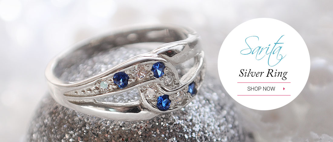 Sarita Silver Ring - Sapphire stones combined  with sparkling cubic zirconia stones