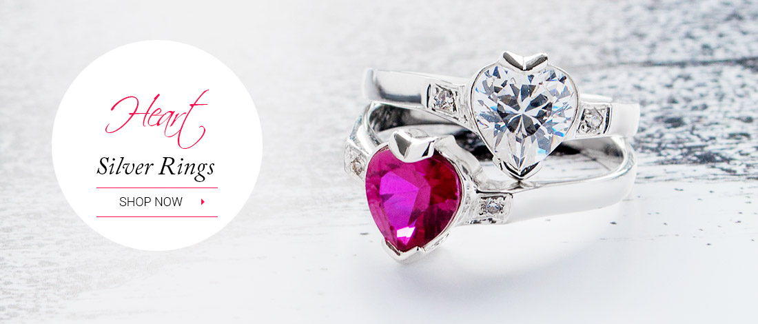 White and Red Heart Rings