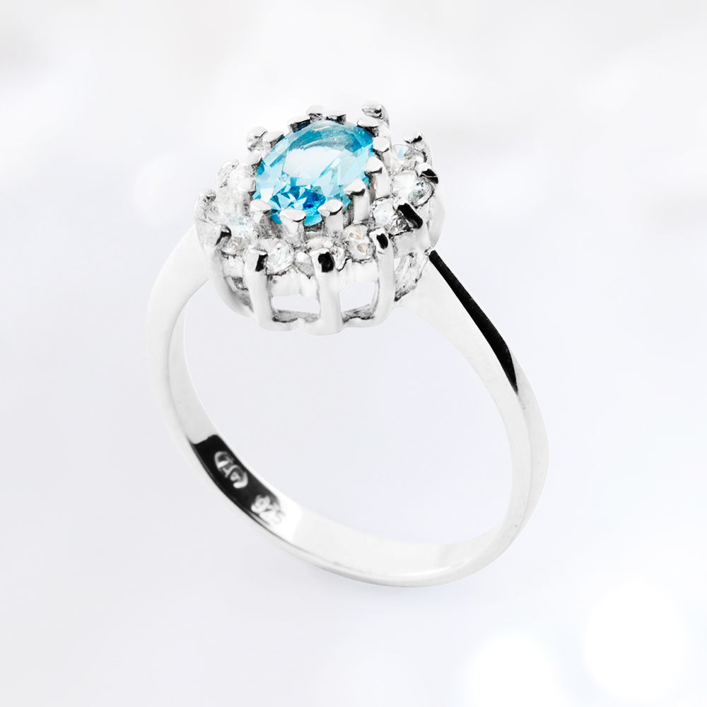 CALYPSO Engagement Silver Ring with Aquamarine  and Cubic Zirconia