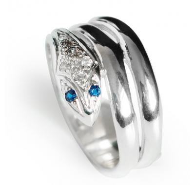 BLUE SNAKE Silver Ring