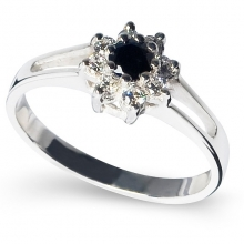 BLACK ZINNIA Silver Ring