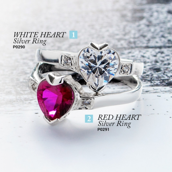 White and Red Heart - heart shape cubic zirconia rings