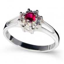 RED ZINNIA Silver Ring