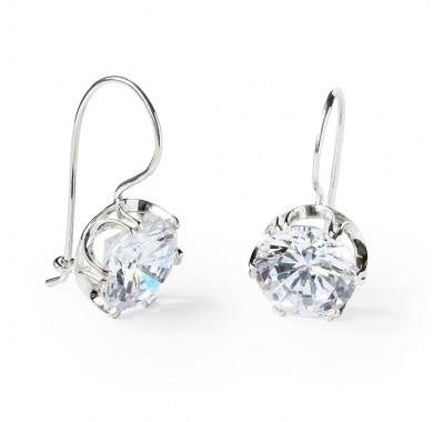 f15552735 Sterling Silver Earrings with Large Round White Cubic Zirconia ...