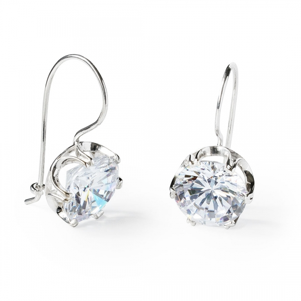 Finest Sterling Silver Earrings with Large Round White Cubic Zirconia  EW35