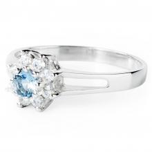 AQUAMARINE ZINNIA Silver Ring