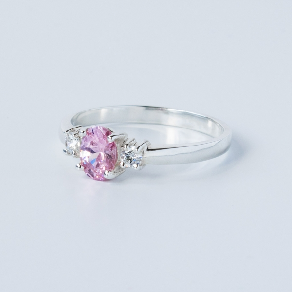 a0437dcea19eb6 ... PINK CLEO Sterling Silver Ring with Pink and White Cubic Zirconia ...