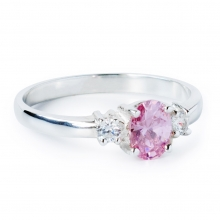 PINK CLEO Sterling Silver Ring with Pink and White Cubic Zirconia