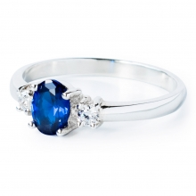 BLUE CLEO Sterling Silver Ring with Blue Sapphire and White Cubic Zirconia