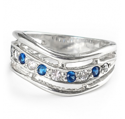 BLUE TWIST Silver Ring