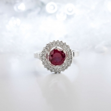 RED AURORA Silver Ring