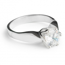 WHITE MILA Sterling Silver Ring with 8mm Cubic Zirconia