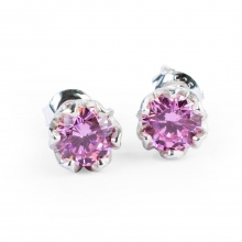 PINK ESME Silver Stud Earrings
