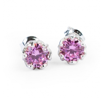 PINK ESME Mini Silver Stud Earrings