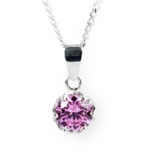 PINK ESME Silver Mini Pendant Necklace