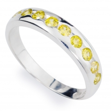 YELLOW SACHA Sterling Silver Ring with Yellow Cubic Zirconia Stones
