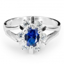BLUE GRACE Sapphire Silver Ring