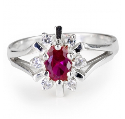 RED GRACE Ruby Silver Ring