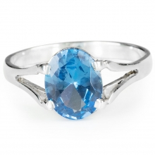 AQUAMARINE ALVA Sterling Silver Solitaire Ring with Aquamarine