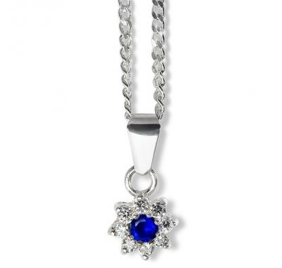 BLUE ZINNIA Silver Necklace Pendant