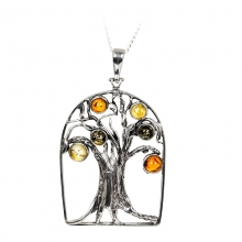 OAK TREE Bold Baltic Amber Silver Pendant