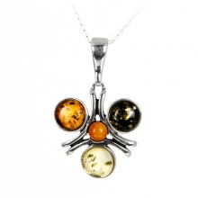 THREE PETALS Baltic Amber Silver Pendant Necklace
