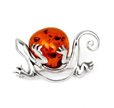 GECKO Silver Brooch with Natural Baltic Amber