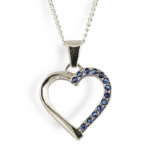 YUMI Silver Chain Pendant with Sapphires