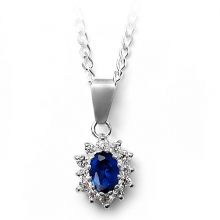 AMIRRA Silver Necklace with Sapphire