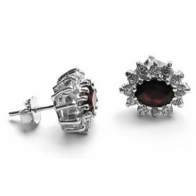 IGNIS Stud Earrings with Garnet and Cubic Zirconias