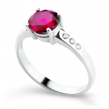 GEORGETTE Red Silver Ring