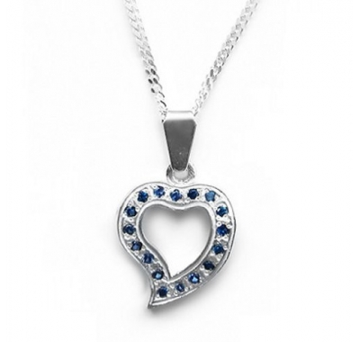 KEIRO Silver Pendant with Sapphires