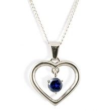 LEAH Silver Necklace with Sapphire