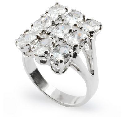 WHITE LILY Silver Statement Ring