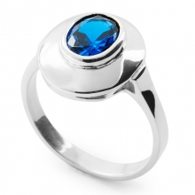 PETRONIA Vintage Inspired Sterling Silver Ring with Sapphire