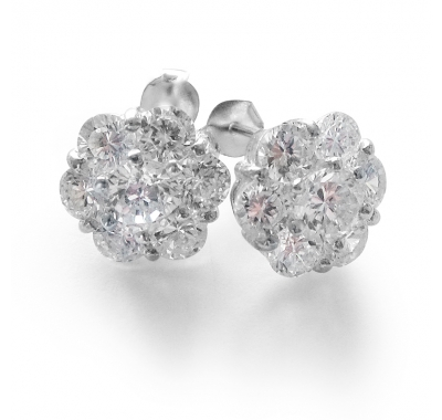 PLUMERIA Silver Stud Earrings