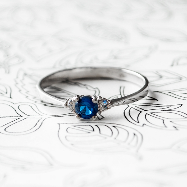 Jane Sterling Silver Ring with Sapphire and cubic zirconia stones