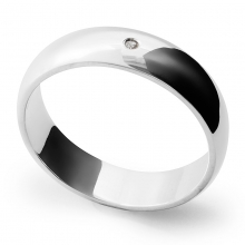 AVENIR Single Diamond Wide Silver 5.5mm Band Ring