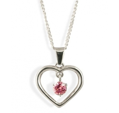 Silver heart shaped pendant with pink rubies on sterling silver leah silver ruby pendant aloadofball Choice Image