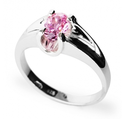 KIM Pink CZ Silver Ring