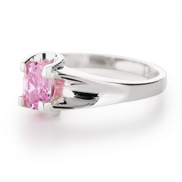 sterling silver ring with pink cubic zirconia this