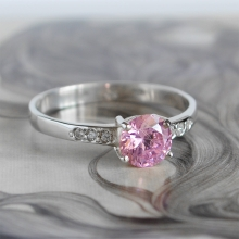 GEORGETTE Pink CZ Silver Ring