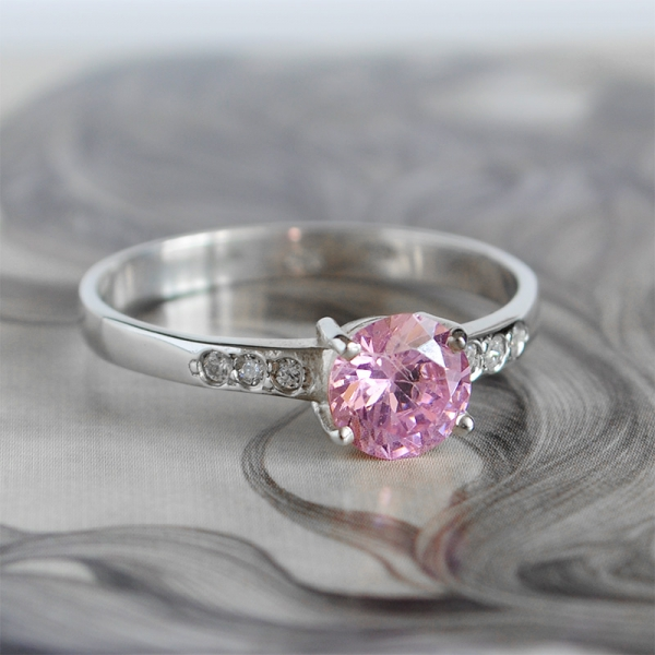 sterling silver ring with pink and white cubic zirconia