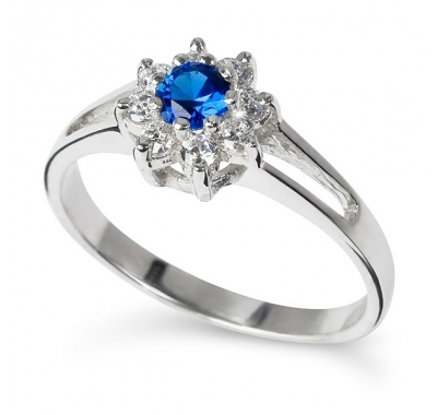 BLUE ZINNIA Silver Ring with Sapphire